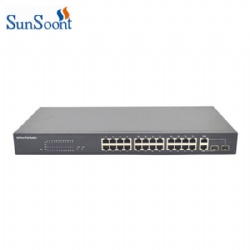100Mbps 24 port POE switch with 2 1000Mbps RJ45 and 2 SFP Uplink ports